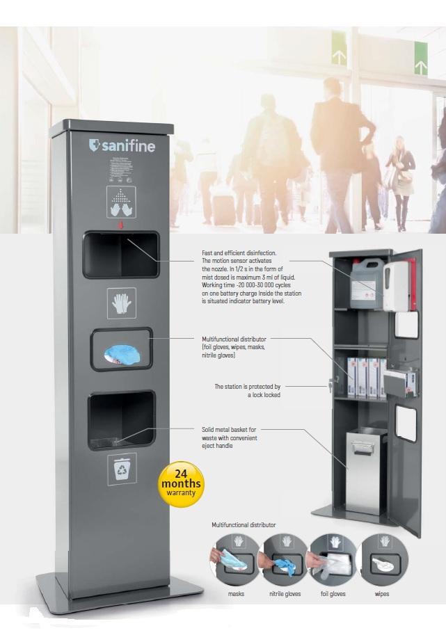 Dezinfekčná stanica na ruky senzorová so zásobníkom na rukavice / utierky a odp. košom  PREMIUM 5L