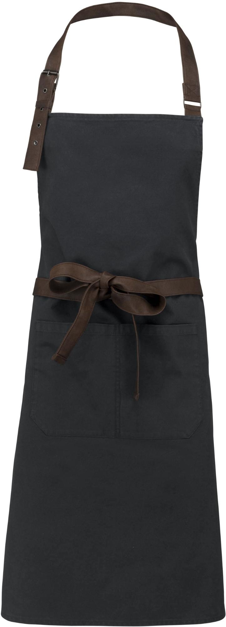 Kariban Vintage kuchárska zástera s trakmi 100% bavlna - farba čierna